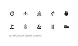 Set Of 10 Editable Sport Icons. Includes Symbols Such As Bicycle Rider, Basketball, Flag And More. Can Be Used For Web, Mobile, UI And Infographic Design. - 176710059