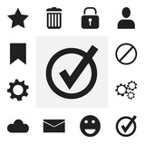 Set Of 12 Editable Internet Icons. Includes Symbols Such As Profile, Bookmark, Recycle Bin And More. Can Be Used For Web, Mobile, UI And Infographic Design. - 176711009