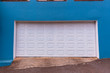 Car Double Garage White Door Blue Entrance