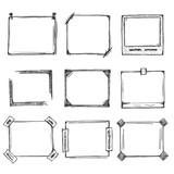 Sketch of hand drawn frame set, template design element, Vector illustration - 176716851