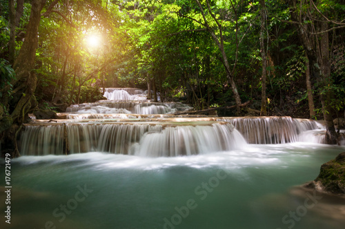 Waterfall with deep forrest waterfall in Erawan waterfall National Park Kanjanaburi Thailand. - 176721479