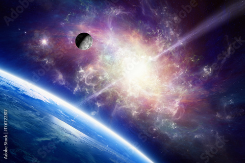 Planet Earth in space, Moon orbits around Earth, spiral galaxy