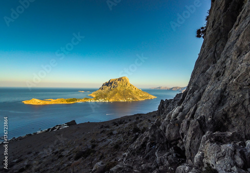 Aluminium Grijze traf. Kalymnos island and beautiful view of Telendos Island, Greese