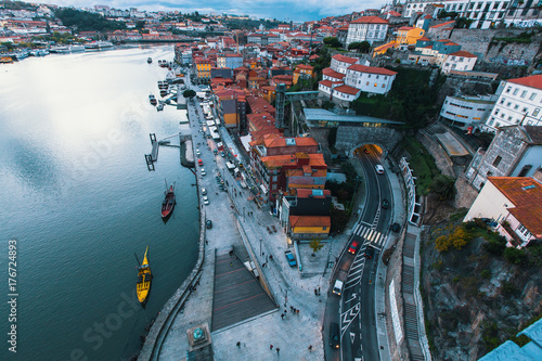 Bird's-eye view Douro river and Ribeira at dusk, Porto, Portugal Poster