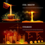 Steel industry banner. Hot steel pouring in steel plant. Smelting of metal in big foundry. Iron and factory workshop. Steel worker. Metallurgy process - 176727211