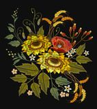 Embroidery sunflowers, roses, flowers, wheat. Beautiful bouquet embroidery. Template for clothes, textiles, spring flowers vector, t-shirt design - 176727222