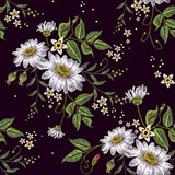 Chamomiles embroidery seamless pattern. Beautiful white chamomiles on black background. Template for clothes, textiles, spring flowers vector, t-shirt design - 176727237