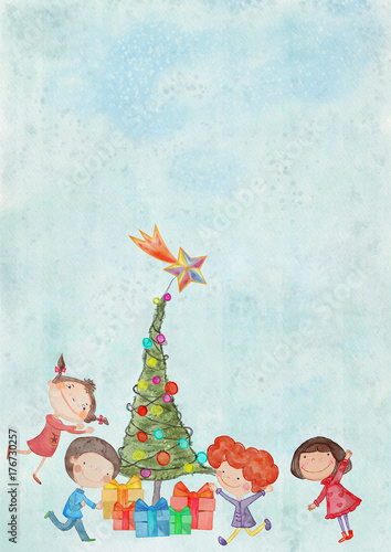 Fototapeta Christmas background with children.Watercolor on canvas. Bacground