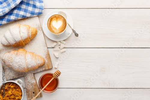 Wall mural Traditional french breakfast background copy space