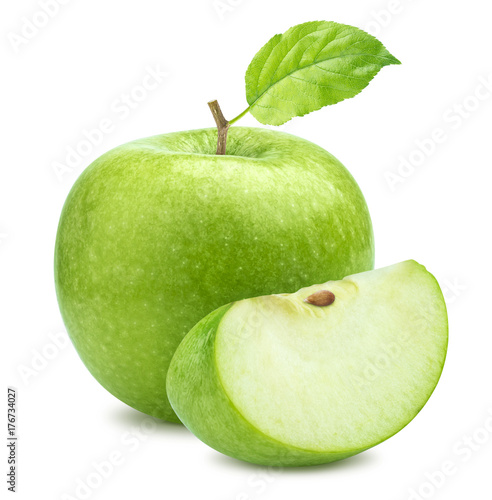Foto Murales One green apple and quarter piece isolated on white background