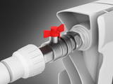 illustration of a radiator with a ball valve close-up on black gradient background 3d - 176734498
