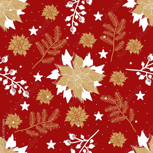 Materiał do szycia Seamless pattern with Christmas elements. Vector illustration.