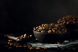 Closeup of coffee beans in bowl - 176737685