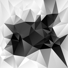 vector abstract irregular polygon background with a triangle pattern in grayscale - black, whihe and gray color