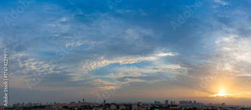 Papiers peints Bangkok Panoramic aerial view of dramatic blue sky.
