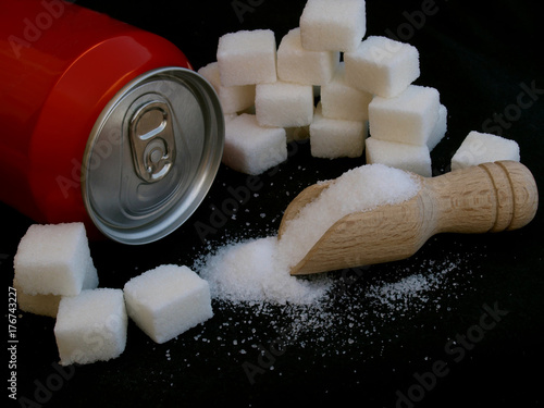 sugar adiction: soda can and sugar Poster