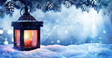 Christmas Lantern On Snow With Fir Branch In Evening Scene - 176745410