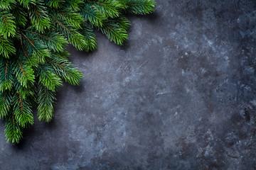 Christmas fir tree over stone
