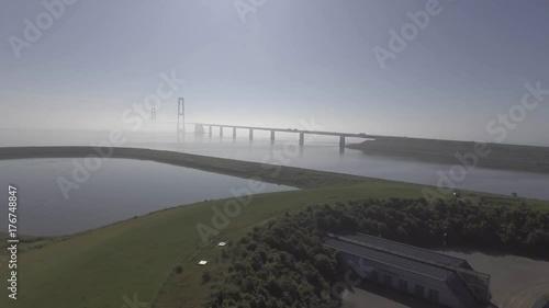 Fototapeta Denmark Drone Bridge Fog