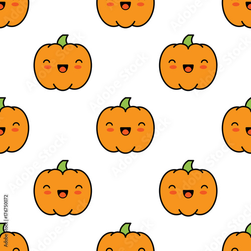 Seamless halloween pattern with pumpkins on white background. - 176750072