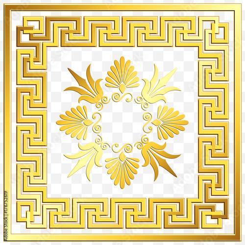 0720c299c6b2 Traditional vintage Golden square Greek ornament
