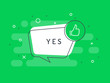 Like label. Thumb up. Trendy flat vector bubble. Green banner on a white background.