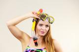 Woman with snorkeling mask having fun - 176754420