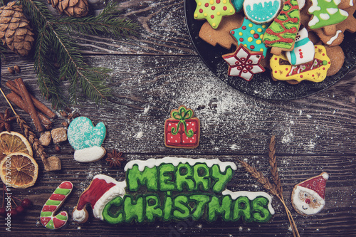Homemade ginger cookies for new years and christmas on wooden background, xmas t Poster