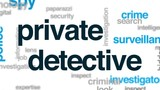 Private detective animated word cloud, text design animation. - 176758606