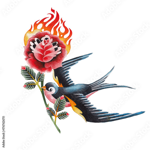 Watercolor swallows carrying flaming flower - 176762670