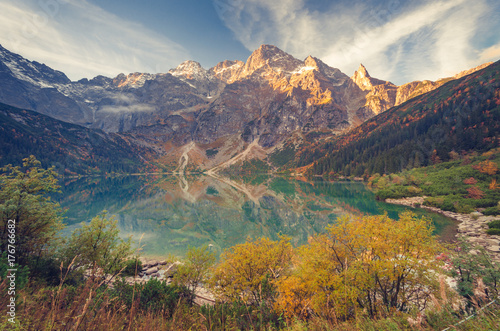 Tatra mountains, Morskie Oko lake, fall morning, Poland