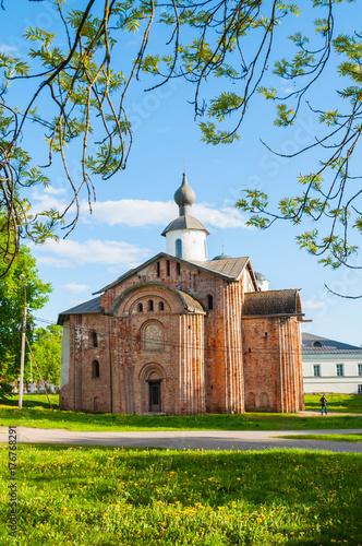 Fridge magnet Veliky Novgorod, Russia. araskeva Pyatnitsa church at Yaroslav's Courtyard in Veliky Novgorod, Russia