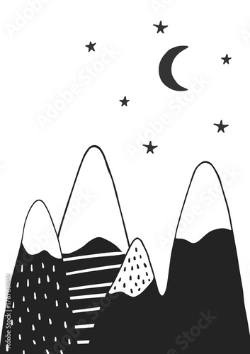Cute hand drawn nursery poster with handdrawn mountains stars and moon in scandinavian style.