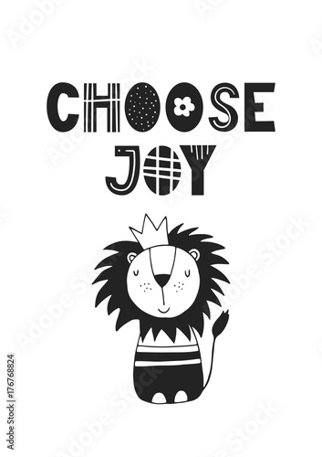 Choose Joy - unique hand drawn nursery poster with handdrawn lettering in scandinavian style. Vector illustration - 176768824