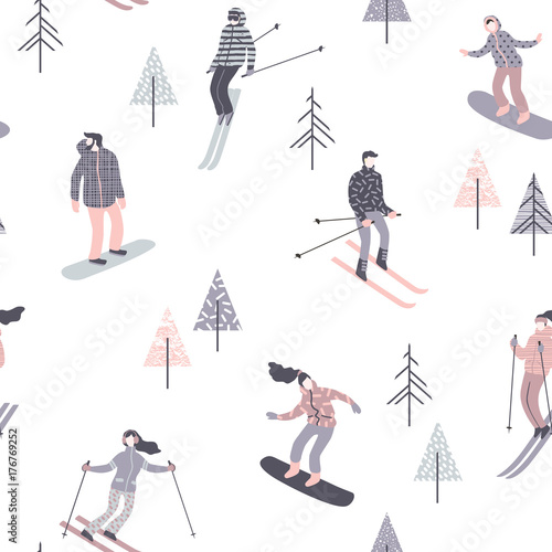 Cotton fabric Vector illustration of skiers and snowboarders. Seamless pattern.