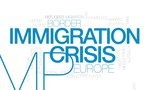 Immigration crisis animated word cloud, text design animation. Kinetic typography. - 176770482