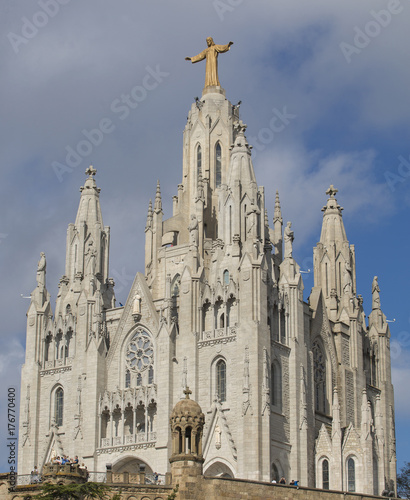 Barcelona, Spain - October 15, 2017. Expiatorio Temple of the Sacred Heart of Jesus is a church located in the mountain of the Tibidabo