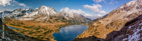Tatra mountains, panorama of valley with lakes, fall sunny day