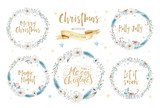 Merry Christmas watercolor cards with floral elements. Happy New Year lettering posters. Winter xmas flower and branch wreath decoration. - 176774663