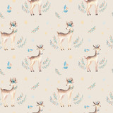 Seamless Christmas baby deer seamless pattern. Hand drawn winter backgraund with deer, snowflakes. Nursery xmas animal illustration. New year design. - 176774880