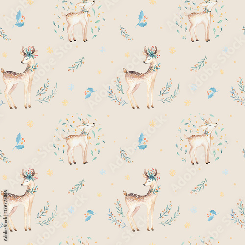 Cotton fabric Seamless Christmas baby deer seamless pattern. Hand drawn winter backgraund with deer, snowflakes. Nursery xmas animal illustration. New year design.