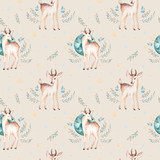 Seamless Christmas baby deer seamless pattern. Hand drawn winter backgraund with deer, snowflakes. Nursery xmas animal illustration. New year design.
