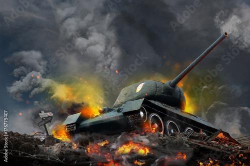 Zbiornik na wzgórzu płonącym ogniem