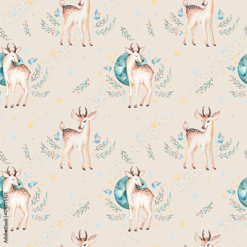 Seamless Christmas baby deer seamless pattern. Hand drawn winter backgraund with deer, snowflakes. Nursery xmas animal illustration. New year design. - 176775431