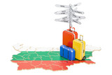 Bulgaria travel concept. Bulgarian flag on map with suitcases and signpost, 3D rendering - 176775616