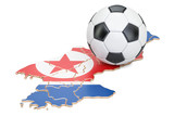 Football ball with map of North Korea concept, 3D rendering - 176775668
