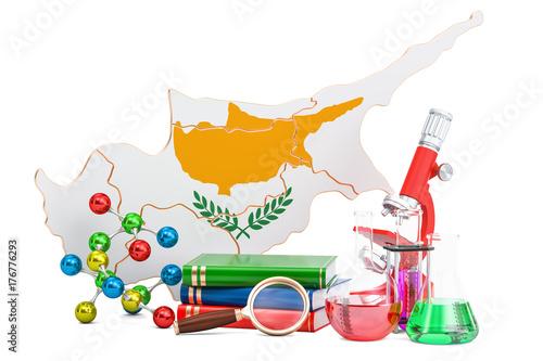 Scientific research in Cyprus concept, 3D rendering