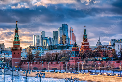 Moscow City and Kremlin Poster
