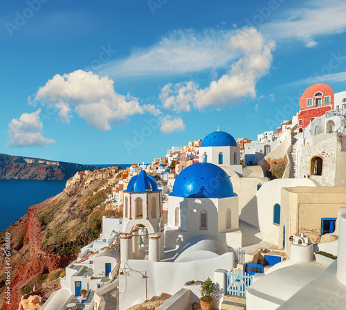 Foto op Plexiglas Santorini Local church with blue cupola in Oia, Santorini, Greece, panorama