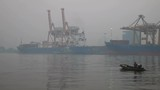 Shipping Yard Among The Mist In Morning While Small Boat Running Through,Thailand - 176794209